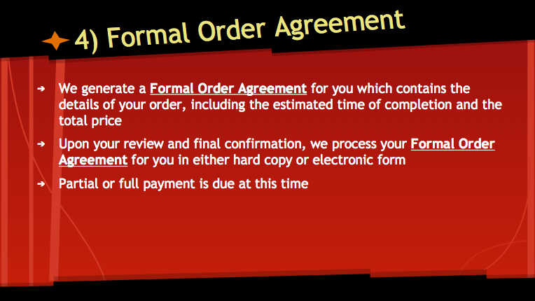 Formal Order Agreement