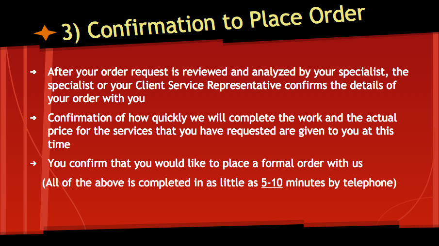 Confirmation to Place Order